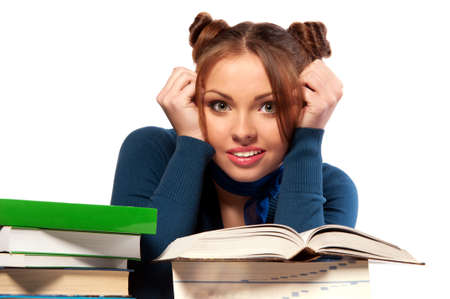 beautiful girl sitting in front of books, isolated background photo