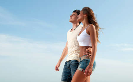 love the girl and the guy looked at the sky Stock Photo - 13054156