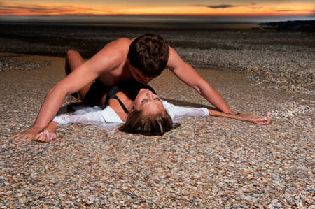 two sexy women: the guy holding the girlfriend on his back
