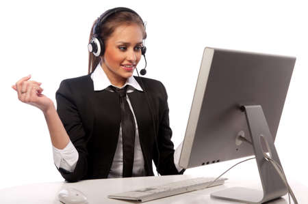 pretty girl works at the computer
