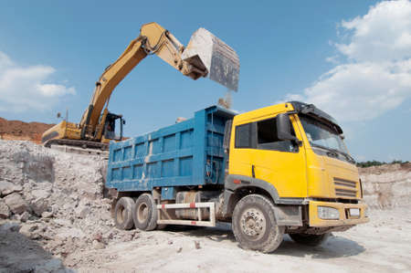 building material: loading a large lorry building material Stock Photo