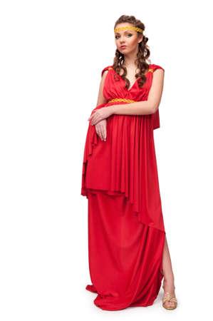 diosa griega: Encantadora niña en el vestido de la diosa griega en un aislado fondo Foto de archivo