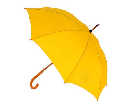 geopend gele paraplu geïsoleerd op een witte achtergrond Stockfoto