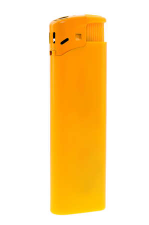 Isolated yellow plastic lighter against the white background Stock Photo - 16398206