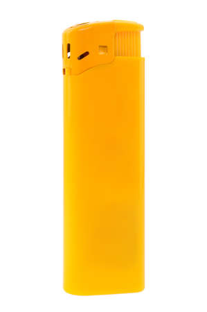 Isolated yellow plastic lighter against the white background photo