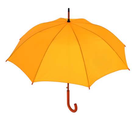 opened yellow umbrella isolated on white background