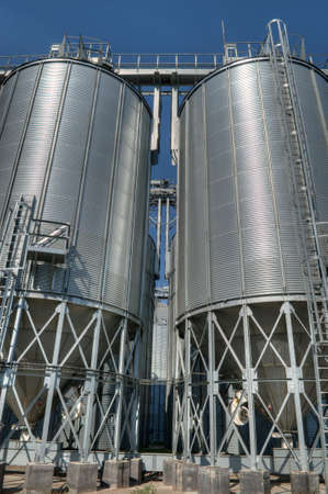 Galvanised Iron grain silos on a farm in Eastern Europe Stock Photo - 17639110
