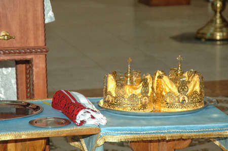 Orthodox wedding accessories including two crowns