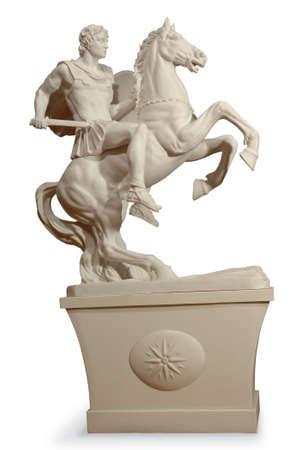 statue grecque: Statue grecque d'un guerrier. Isolated background Banque d'images