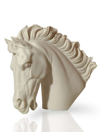 marble sculpture of a horses head is on the floor, clipping path Stock Photo