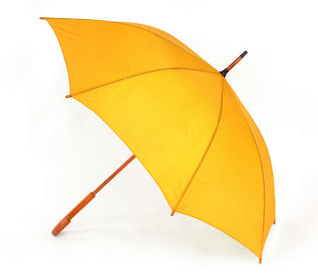 opened yellow umbrella isolated on white background photo