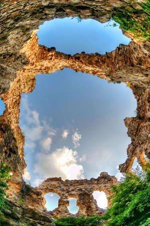 knights templar: The Ruins of the wall The Ukraine, Transcarpathia Stock Photo