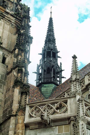 ecclesiastical: The gothic cathedral, beautiful sculptures photographed close-up Stock Photo