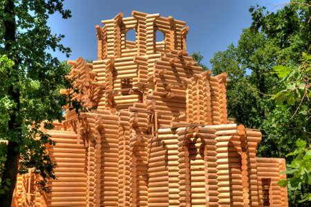 Construction of wooden Orthodox Church, Ukraine. Stock Photo - 20989912