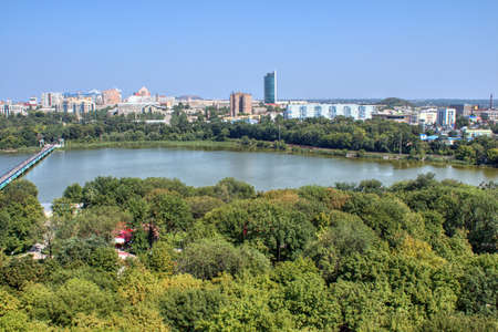 The beautiful city of Donetsk, Ukraine. A birds-eye