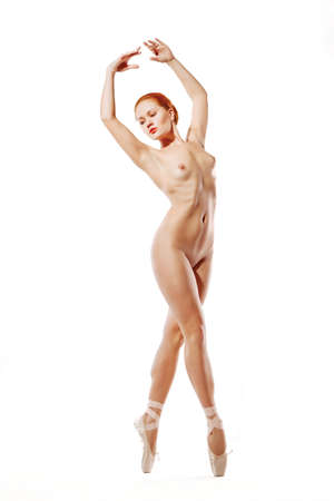 nude sport: picture of dancing naked redhead over white