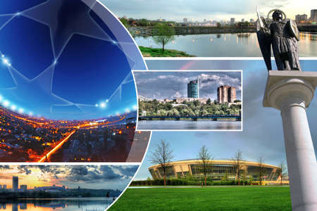 The beautiful city of Donetsk, Ukraine. Collage of photos.