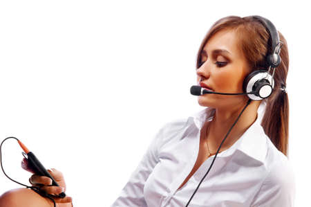 woman with a headset. Attractive woman with headset smiling photo