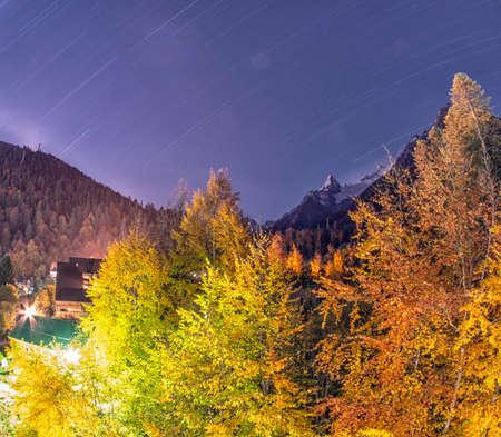 dombai: Night city Dombai - a mountainous area in Karachay-Cherkessia in the Kuban basin in the North Caucasus Russia