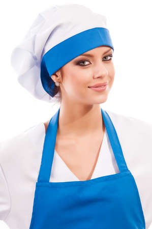 pretty girl in clothes cook, isolated background photo