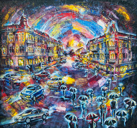 landscape painting: graphic picture of the oil city at night with people and coach