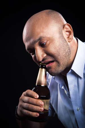 man very emotionally open beer teeth photo