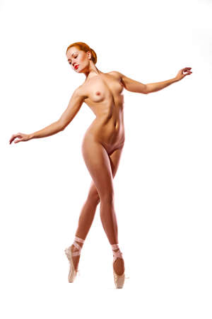 nude babe: picture of dancing naked redhead over white