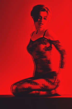 black and red image 3d sexy woman on the isolated background photo