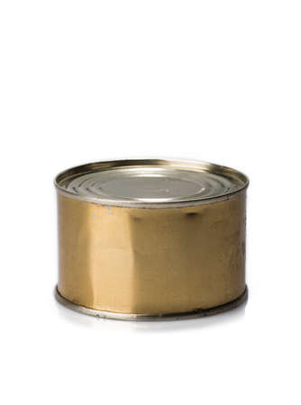 canned meat: Canned meat or fish on a gray background