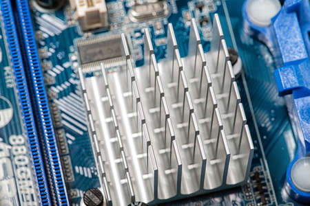 chipset: Close up of a chipset heatsink on motherboard