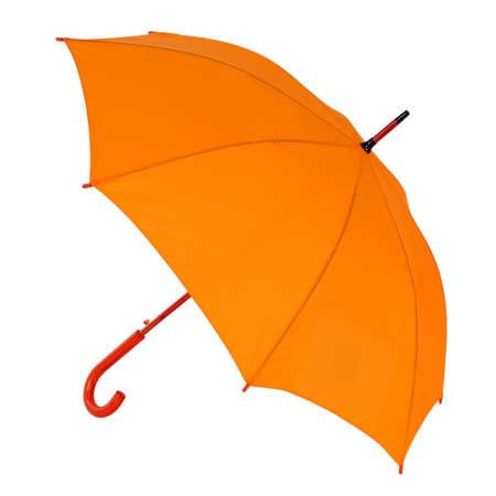 umbrella: opened orange umbrella isolated on white background Stock Photo
