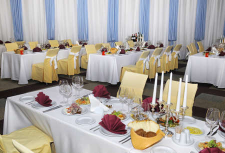a restaurant banquet room decorated for a holiday