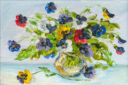 The vase with the flowers drawn by oil on a canvas