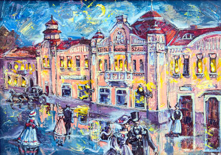 pictorial art: graphic picture of the oil city at night with people and coach