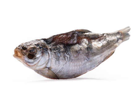 dryed: Dried fish allocated on a white background Stock Photo