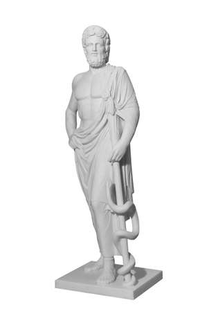 White marble classic statue of Asclepius isolated on white background Stock Photo