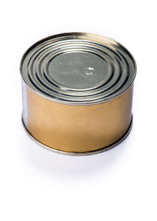 tinned goods: Canned meat or fish on a gray background