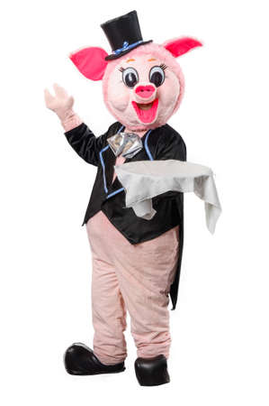 fat pigs: Man dressed as a pig with a tray on a white background Stock Photo