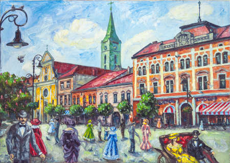 old church: oil painting old church in the city of Uzhgorod with people