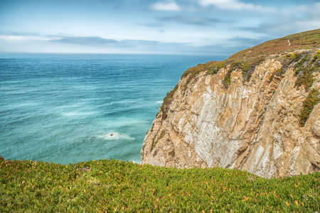 western europe: Coast of Portugal, Cape Cabo da Roca - the westernmost point of Europe. Picturesque rocks.