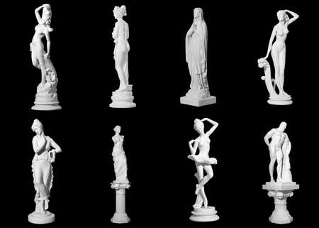 naked statue: Collection of statues isolated on black background