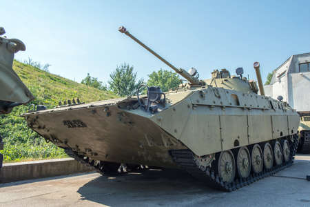 armoured: Airborne tracked armoured personnel carrier BMD with additional protection on demonstration range. Editorial