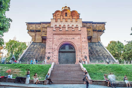 exits: Golden Gates in Kiev, Ukraine . Ancient medieval entrance to city. Stock Photo
