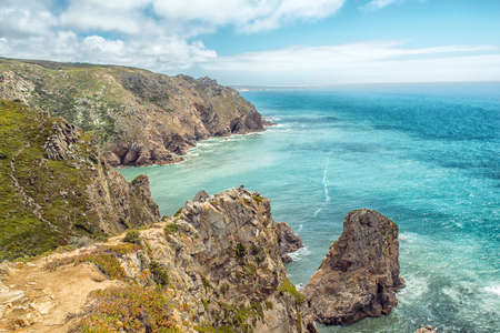 roca: Coast of Portugal, Cape Cabo da Roca - the westernmost point of Europe. Picturesque rocks.