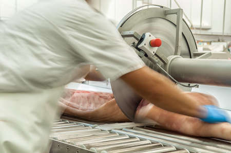 food industry: close up of meat processing in food industry Stock Photo
