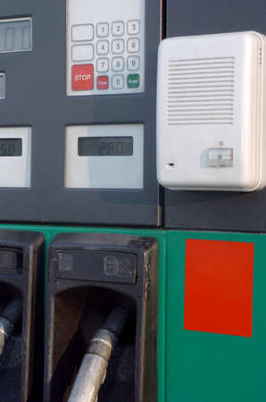 fuel pumps: some fuel pumps at a gas station Stock Photo