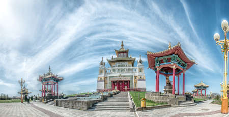 abode: The Buddhist complex Golden Abode of Buddha Shakyamuni. Kalmykia, Russia. It is largest Buddhist temple in Europe and accommodates largest in Europe statue of Buddha