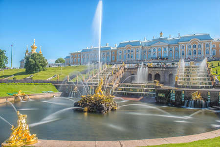 Peterhof, Russia, kings palace and fountain grand cascade, surroundings of St. Petersburg. Editorial