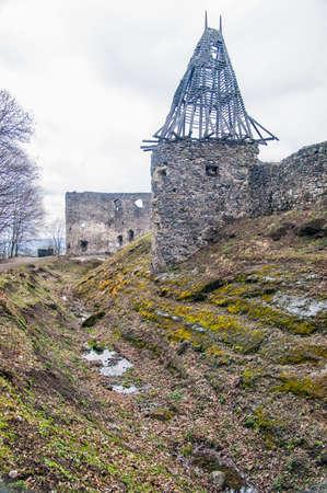 Nevitsky Castle ruins Kamyanitsa village , 12 km north of Uzhgorod, Zakarpattia Oblast, Ukraine Built in 13th century