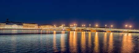 Annunciation Bridge, the drawbridge, the bridge on the river Neva, Saint Petersburg, Russia.